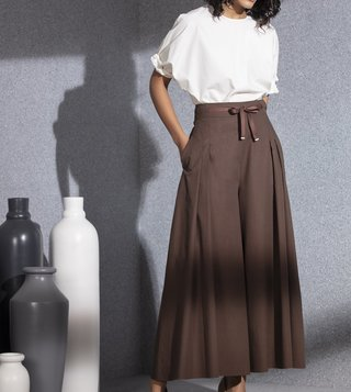 AM:PM Brown Pleated Palazzo