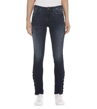 Scotch & Soda Blauw Trails La Bohemienne Cropped Skinny Fit Jeans