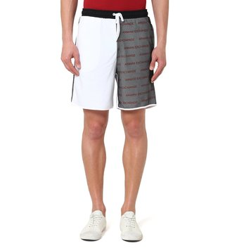 Armani Exchange White & Black Mid Rise Regular Fit Logo Print Shorts