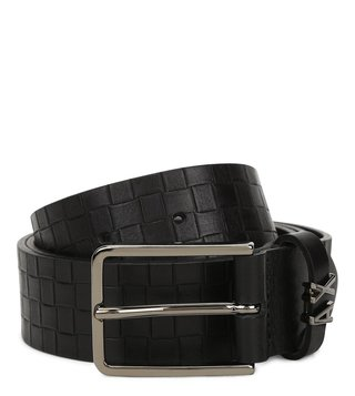 Armani Exchange Black Check Textured Waist Belt
