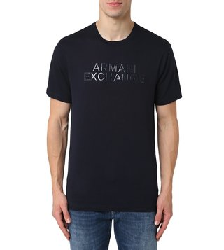 Armani Exchange Navy Half Sleeves Regular Fit Crew T-Shirt