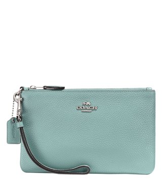Coach Light Teal & Silver Small Wristlet