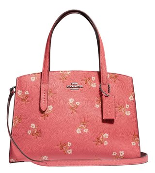 b8632f9ed Coach Bright Coral & Silver Charlie 28 Leather Carryall Medium Floral  Satchel ...