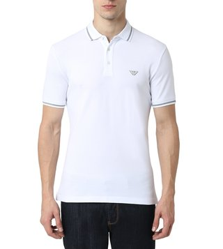 dce6e524 Emporio Armani Bianco Ottico Half Sleeves Slim Fit Polo T-Shirt ...