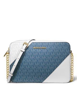 c4a525d9433e4 MICHAEL Michael Kors Darck Chambray Metal Large Logo Chain Handle Cross  Body Bag ...
