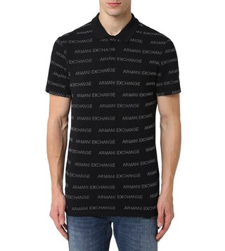 Armani Exchange Black Short Sleeves Regular Fit Logo Polo T-Shirt