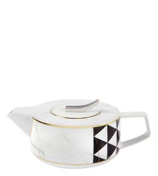 Vista Alegre Carrara Black & Gold Porcelain Tea Pot