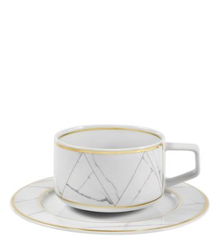 Vista Alegre Carrara White & Gold Porcelain Tea Cup & Saucer