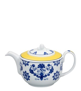 Vista Alegre Castelo Branco Yellow & Blue Floral Porcelain Tea Pot