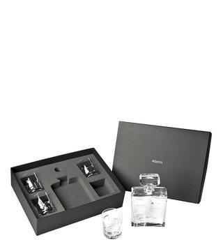 Vista Alegre Transparent Crystal Whisky Decanter & 4 Old Fashion Portrait Glasses with Case