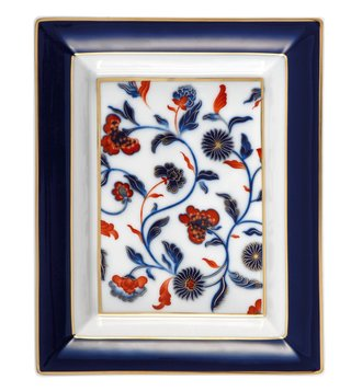 Vista Alegre Qing Porcelain White, Blue & Red Floral Rectangular Tray