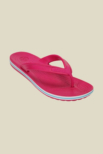 7fe43dc107f73e Buy Crocs Crocband Candy Pink and Electric Blue Flip Flops Online at best  price at TataCLiQ