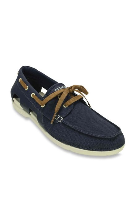 f421e36422bf06 Buy Crocs Beach Line Navy and Stucco Boat Shoes Online at best price at  TataCLiQ