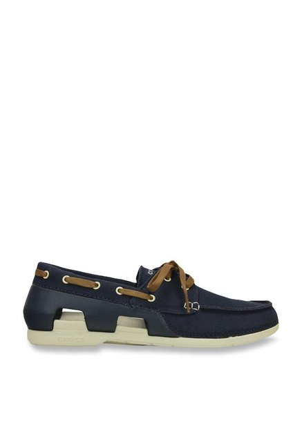 78ee6b5d242a17 Buy Crocs Beach Line Navy and Stucco Boat Shoes Online at best price ...