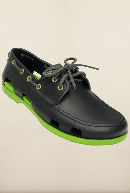 60955d3e68ce71 Buy Crocs Beach Line Onyx   Volt Green Boat Shoes Online at best ...