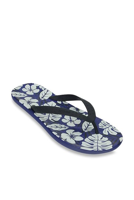 Crocs Chawaii Tropical Print Navy & Cerulean Blue Flip Flops