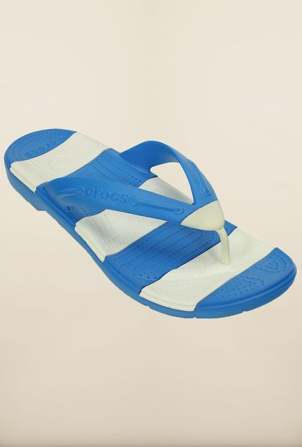 43e60a532f9a4 Buy Crocs Beach Line Ocean and White Flip Flops Online at best price at  TataCLiQ