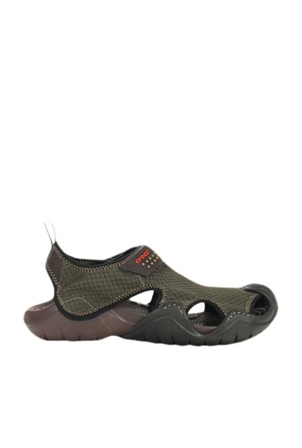 65be5e1647e8b Buy Crocs Swiftwater Green   Espresso Floater Sandals Online at best ...