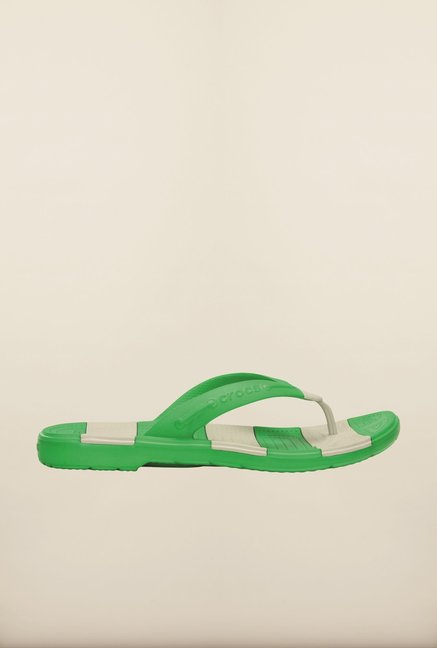 Crocs Beach Line Grass Green & Pearl White Flip Flops