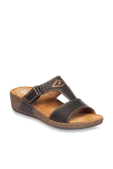 8c2d84f6a51b Buy Pavers England Black Wedge Sandals Online at best price at ...