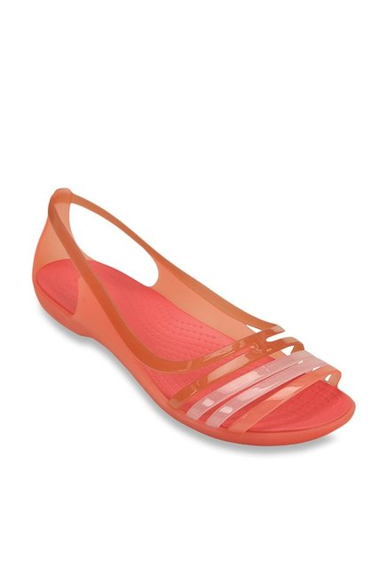 9f470a7abcaa Buy Crocs Isabella Huarache Coral   Peach Slide Sandals Online at best  price at TataCLiQ
