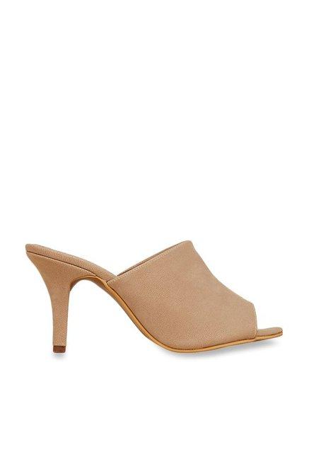 95135a656b7 Buy Inc.5 Beige Peeptoe Mule Sandals Online at best price at TataCLiQ
