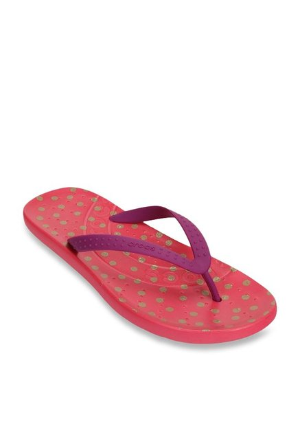 1c6f97eee191 Buy Crocs Chawaii Graphic Viola   Poppy Flip Flops For Women Online At Tata  CLiQ