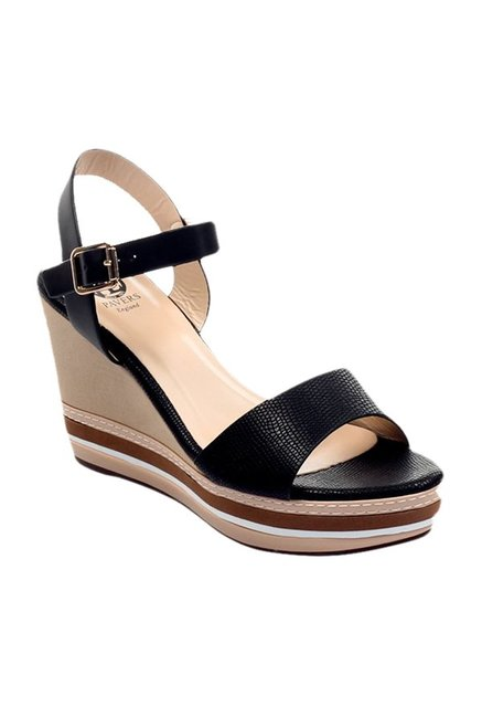 cf6c527f562b Buy Pavers England Black Ankle Strap Wedges For Women Online At Tata CLiQ