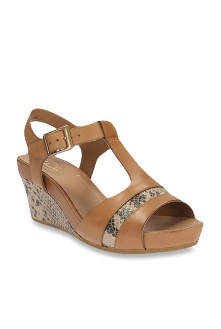 Buy Clarks Rusty Rebel Tan Ankle Strap Wedges for Women at