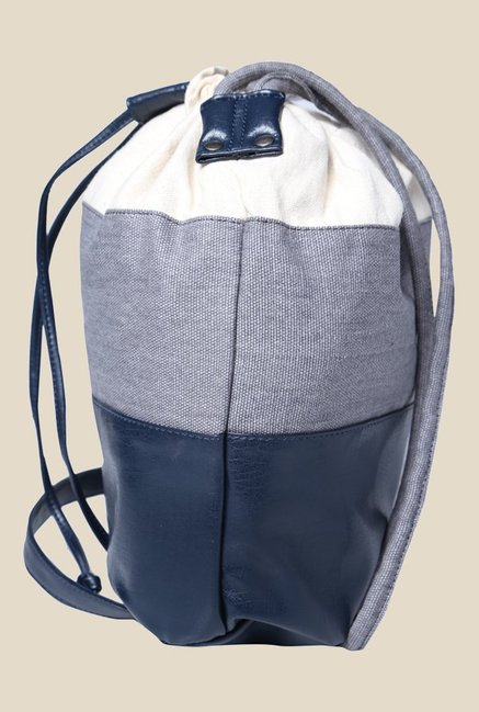 Fastrack Blue Canvas Solid Bucket Bag