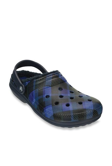 6cfaa72cea06c Buy Crocs Classic Lined Graphic Navy   Cerulean Blue Clogs for ...