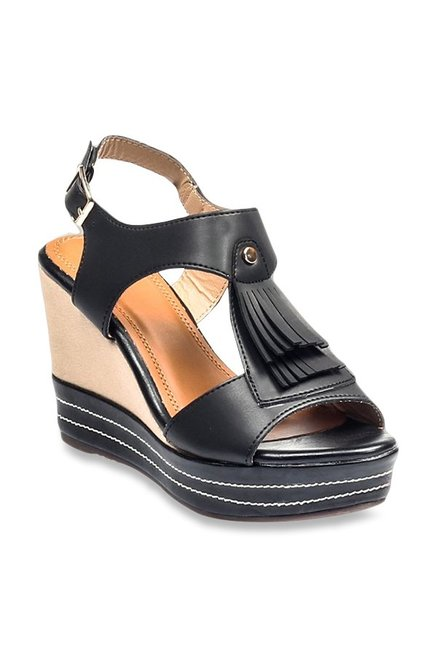 acf1904b0d92 Buy Pavers England Black Back Strap Wedges for Women at Best ...