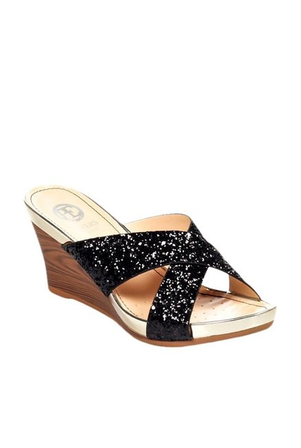 f809331579a0 Buy Pavers England Black Cross Strap Wedges for Women at Best Price   Tata  CLiQ
