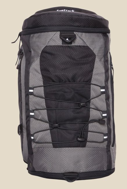 Fastrack Grey Polyester Textured Backpack