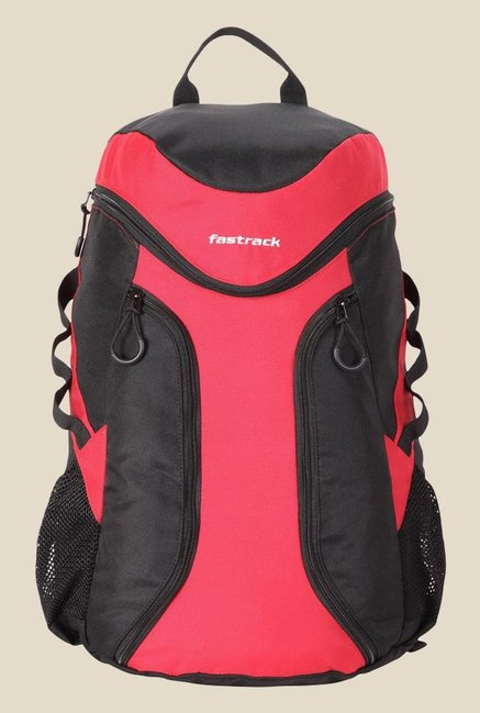Fastrack Black and Red Polyester Backpack