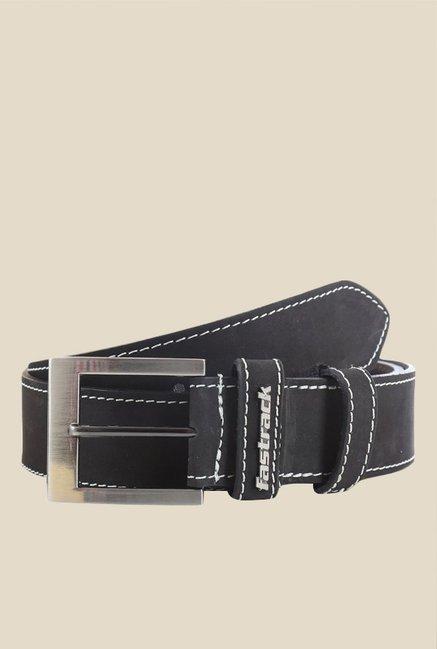 Fastrack Black Solid Leather Belt