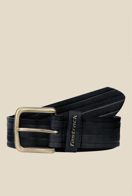 Fastrack Black Striped Leather Belt