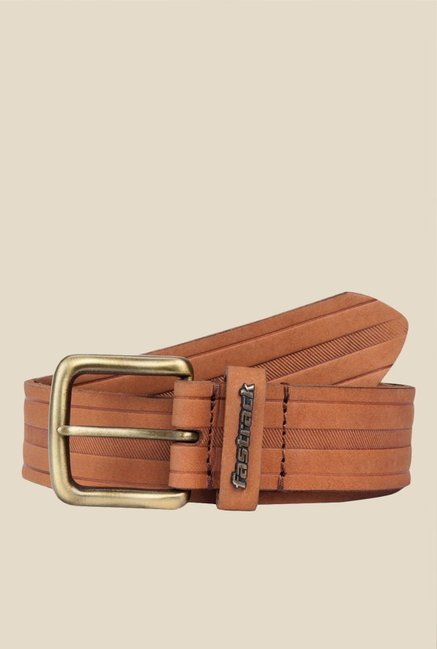 Fastrack Tan Striped Leather Belt
