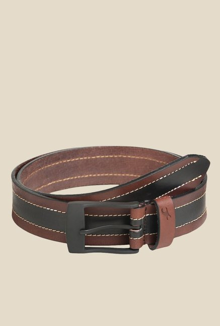 Buy Fastrack Brown And Black Striped Leather Belt For Men At Best