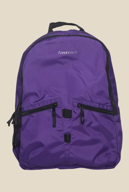 Fastrack Purple Polyester Textured Backpack