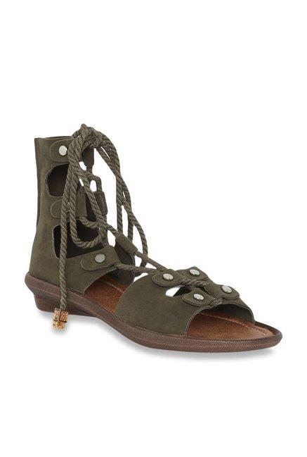 59a52ba1d766 63% OFF on Catwalk Olive Gladiator Sandals on TataCliq