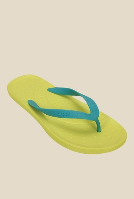 3e55f4c00862 Buy Crocs Chawaii Turquoise   Chartreuse Flip Flops for Men at Best ...