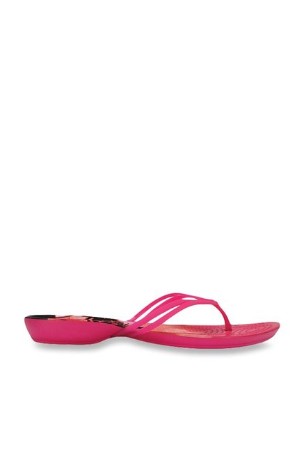 78e23e7cb7f1 Buy Crocs Isabella Graphic Tropical Print Candy Pink Flip Flops for ...