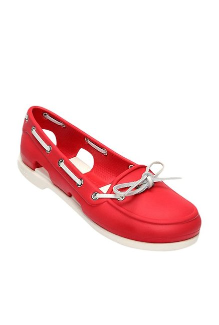 c622278353d2 Buy Crocs Beach Line Red   White Boat Shoes for Women at Best ...