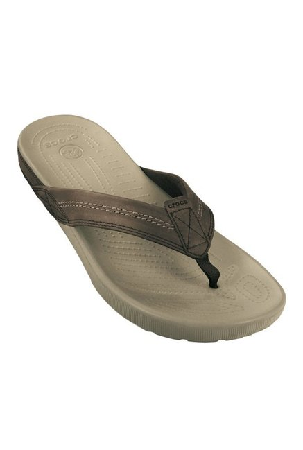 b01e811d8c81 Buy Crocs Yukon Coffee Brown   Khaki Flip Flops for Men at Best ...