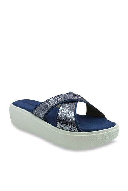 b18d45f593bc Buy Inc.5 Silver   Navy Cross Strap Sandals for Women at Best Price   Tata  CLiQ