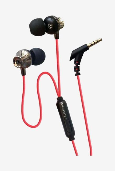 Amkette Trubeats E7 In Ear Wired Earphones with Mic  Red