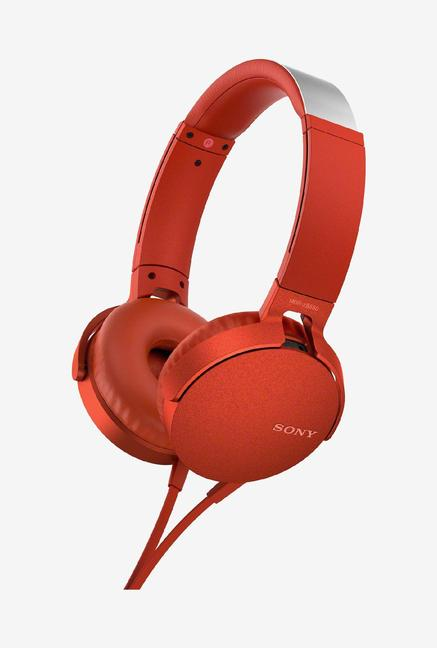 Sony XB550AP EXTRA BASS Over Ear Headphones with Mic  Red