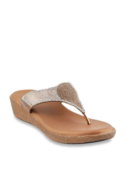 310afbf59 Buy Mochi Antique Gold Wedge Heeled Thong Sandals for Women at ...