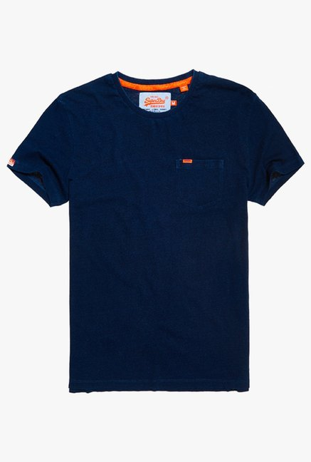 Superdry Dark Blue Regular Fit Cotton T-Shirt